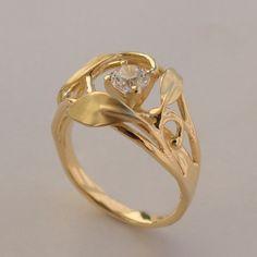 Leaves Engagement Ring No. 5 - 14K Gold and Diamond engagement ring, engagement ring, leaf ring, filigree, antique, art nouveau, vintage on Etsy, $1,000.00