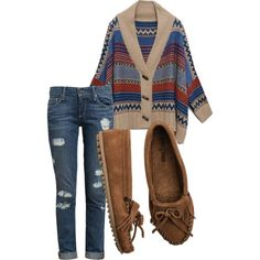 boho outfits for school, sweater weather, moccasin outfit, casual styles, cozy clothes