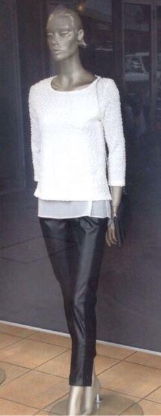 Joseph Ribkoff Sweater.  Ivory Knit | Sweater-Blouse.