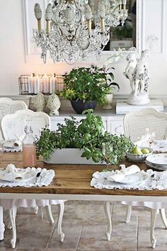 A French country dining room decorated with a rustic table & classic | http://vintagestyles984.blogspot.com