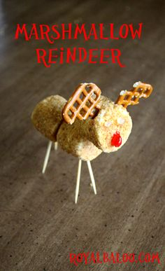 holiday, marshmallow reindeer, craft, food, book clubs