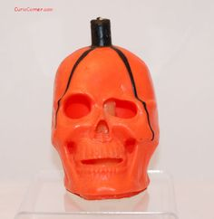 Vintage Halloween Gurley Candle ~ Orange Skull, circa 1950s