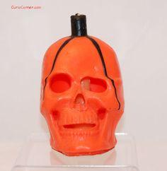 Vintage Halloween Gurley Candle ~ Orange Skull, circa 1950s