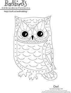 Owl by Andrea Zuill sew, idea, craft, embroidery patterns, embroideri pattern, diy, hoot, owls, owl patterns