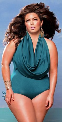 The dramatic cowl neck distracts from the waistline & balances out your look bath suit, swimsuit