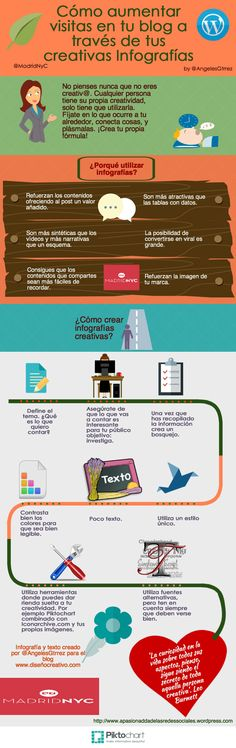 Cómo aumentar visitas en tu blog a través de creativas Infografías #infografia #CommunityManager #RedesSociales #MarketingOnline #InternetMarketing #Infografia #CapacitaciónOnline