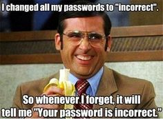 """I changed all my passwords to """"incorrect"""". So whenever I forget, it will tell me """"Your password is incorrect."""""""