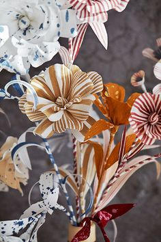 Striped Paper Flower Bouquet by Thuss + Farrell