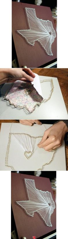 Heart of Texas nail and string art