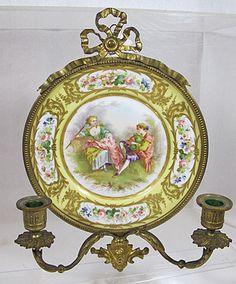 Sevres Type Porcelain Plaque/Plate Gilt Bronze Ormolu Candle Holder Bow Lamp