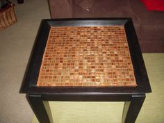 Repurpose an old scratched end table with tile...