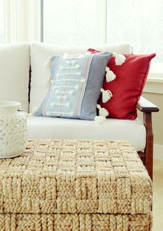 DIY Anthropologie throw pillows -  Woven Knockoff Pillow