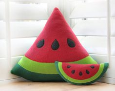 Watermelon Pillow by WinterPetals on Etsy.