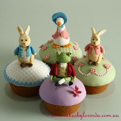 Peter Rabbit themed cupcakes....amazing detail.