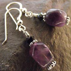 Amethyst gemstone crystal sterling silver earrings