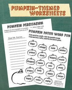 Pumpkin Themed Worksheets-Creative Writing and Word Fun for Kids!