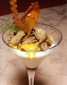 Coppa di funghi cardoncelli con crema di patate e fonduta al Canestrato di Moliterno