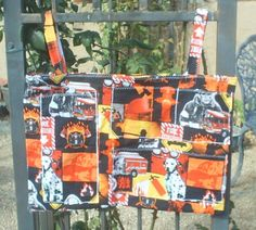 Crib changing table bag organizer with pockets Red firemen