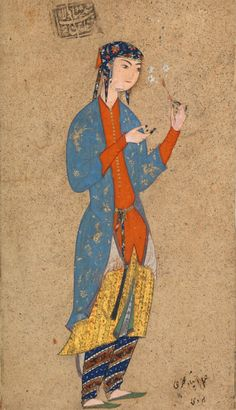 Portrait of a Lady Holding a Flower  Painting by Muhammadi of Herat (active Qazvin, ca. 1570–78; Herat, ca. 1578–87)  Object Name:  Single work, illustrated  Date:  1565–75  Geography:  Herat  Medium:  Opaque watercolor, ink, and gold on paper  Dimensions:  H: 4 5/8 in. (11.7 cm) W: 2 11/16 in. (6.8 cm)