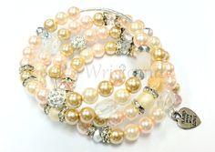 Pale Pink Beaded Coil Bracelet by RandRsWristCandy on Etsy, $12.00
