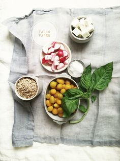 Farro salad   • 1 cup of farro  • 5 radishes (chopped)  • 1 cup baby heirloom tomatoes (or grape tomatoes will certainly do)  • 5 oz feta (cubed)  • 8 large basil leaves  • 1 lemon  • olive oil, salt and pepper