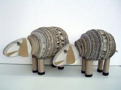 idea, craft, paper, carton, sheep, animal sculptures, cardboard art, lamb, kid