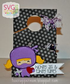 Tx Scrapper Mom - Ninja Valentines w/ Girly Hair Add-On and Spider Web Boo Door Hanger