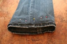 How to hem pants while preserving the original hem.
