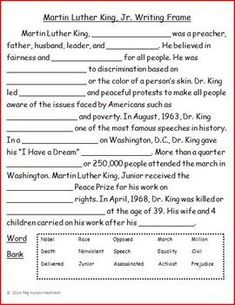 Martin Luther King, Jr. Writing Frame Freebie