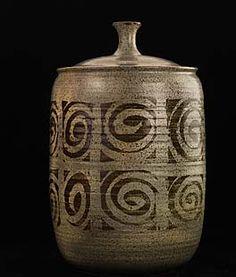 Lidded Jar ca. 1955   Peter Voulkos   Born: Bozeman, Montana 1924   Died: Bowling Green, Ohio 2002   glazed stoneware