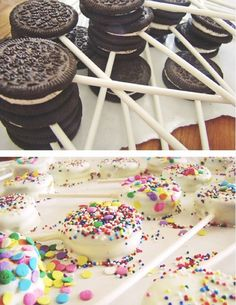 Oreo Pops..... I think kids would love these! And you could decorate them a million different ways like you can cake pops :)