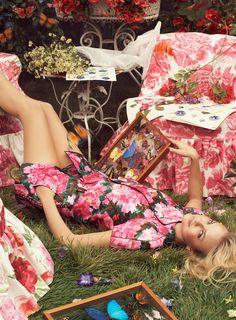 """Fantasy Blooms""   Model: Caroline Trentini, Photographer: Steven Meisel, Vogue Australia, July 2008"