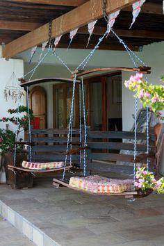 Recycled wine barrels make perfect swing seats