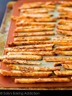 Baked Crispy Sweet Potato Fries.  Easy, healthy, + cheap. | sallysbakingaddiction.com @Sally McWilliam [Sally's Baking Addiction]