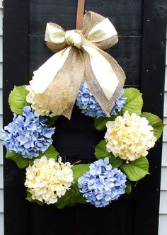 Blue and Yellow Hydrangea Wreath for Spring