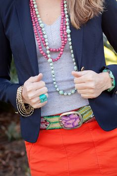 So much Noonday in one picture, love this combination from @J's Everyday Fashion! beaded necklaces, everyday fashion, blazer, dress, mint, js everyday, paper beads, fashion rocks, bright colors