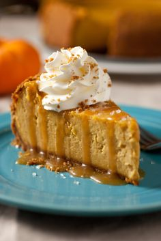 Pumpkin Cheesecake with Salted Caramel Sauce:  Start the holidays out right, with a gourmet and autumn inspired cheesecake! Enjoy!