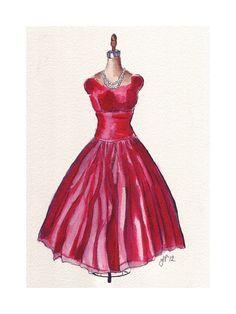 Fashion Illustration  Vintage Red Dress Fashion by jojolarue fashion watercolor, watercolor art, watercolor paintings, dress fashion, dresses, art prints, red dress, fashion illustrations, vintag red