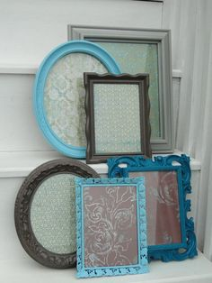 Picture Frame Set Collection Gallery Wall aqua blue by TRWpainted, $90.00