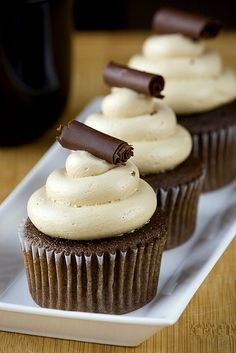 Mocha cupcakes with coffee swiss meringue buttercream