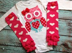 Love Owl onesie with heart leg warmers set, Valentine's day, girl, baby, gift, bodysuit, layette, 3m, 6m, 12m, 18m, 2T, 3T