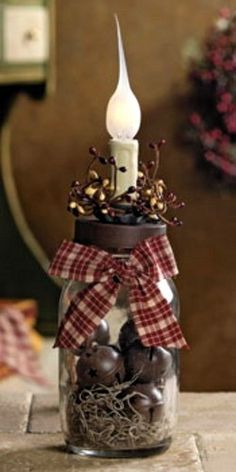 Candle stick country  decor | Country Jingle Bell Electric Candle Lamp Light Christmas Holiday Decor ...