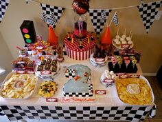 Dessert Table at a Race Car Party #racecar #party