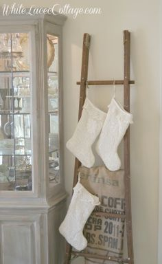 hanger, fireplac, crochet christmas, white christmas, old wood, hang stock, ladder idea, white lace, christmas stockings