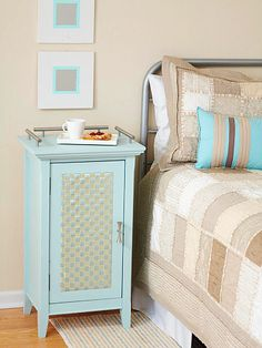 Modernist Chic  love the ribbon weave for this nightstand (foam board to fit into door panel & two colors of ribbon to coordinate with paint color)