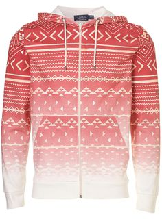 £34 - RED FADED AZTEC PRINT HOODY