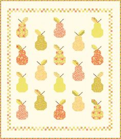 Canned Pears with Leaves Quilt Pattern - Fig Tree & Co - Uses Mirabelle Fabrics from Moda Fabrics