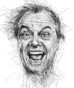 pencil, draw, face, sketch, art, jack nicholson, celebrity portraits, illustr, vinc low