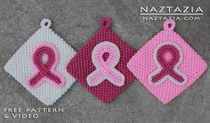 Crochet Awareness Ribbon Potholders For Breast Cancer and Other Causes crochet awar, breast cancer, cancer awareness, pink ribbons, crochet free patterns, awar ribbon, crochet patterns, awareness ribbons, ribbon pothold