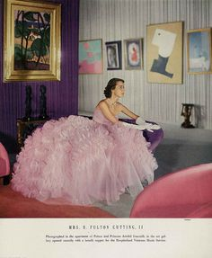 December Vogue 1950  Mrs Cutting is wearing a froth of a ball dress, the skirt is foaming with ruffles, by Ceil Chapman. Clifford Coffin